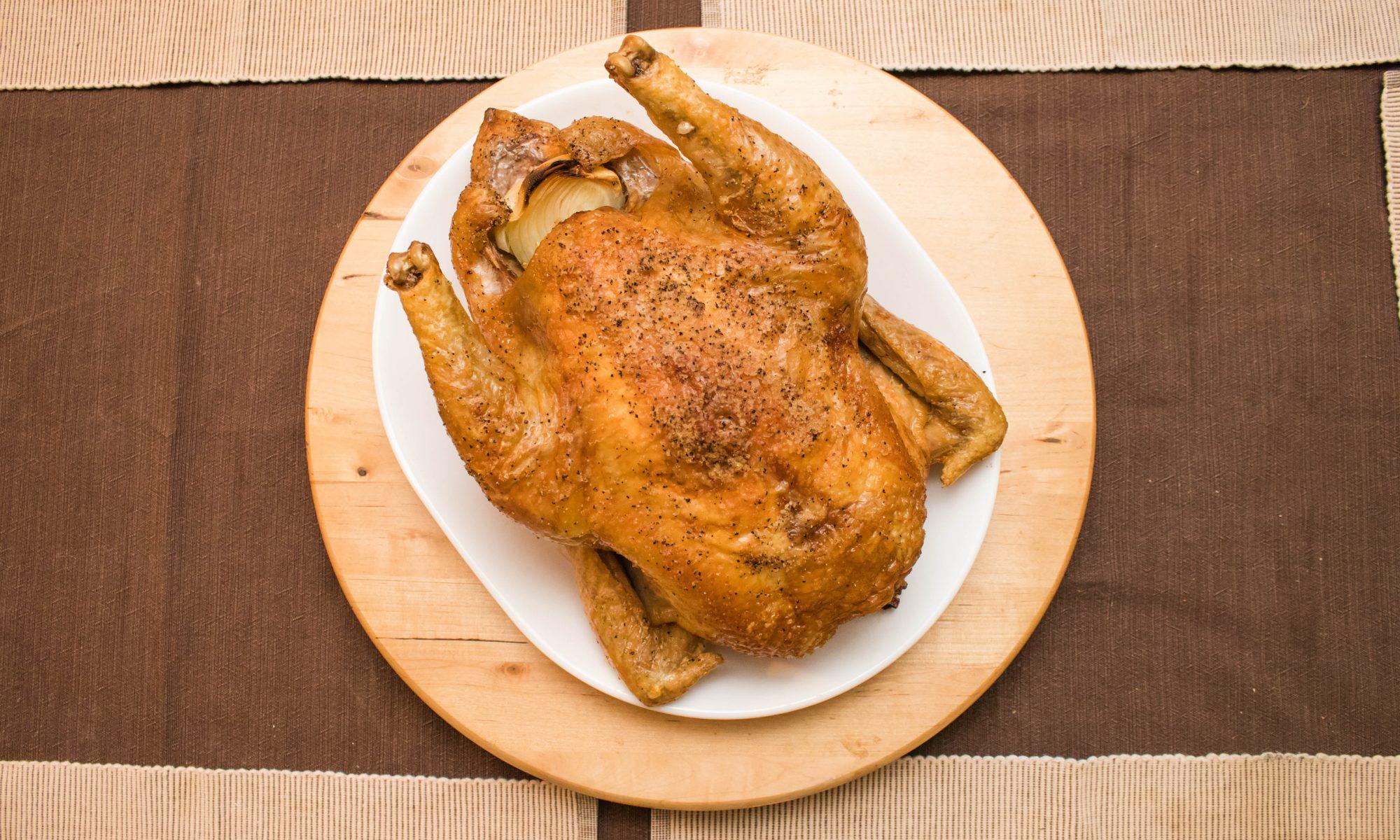 Roasted pastured chicken